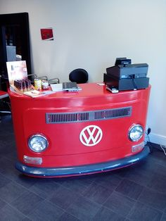 VW Camper van shop counter. Hand made from wood with original fittings.