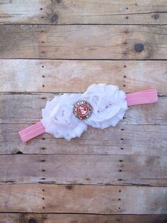 Pink and White Headband from the Blooming Lilac Bowtique