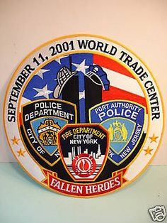 "Large 5"" PATCH Fallen Heroes 9-11 Fire Police Dept. NEW 