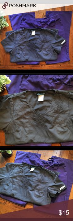 🍇Cherokee scrub set Charcoal and grape scrub set. Super comfortable and girly. The top has nice floral embroidery. Darts on back for a nice girly shaped fit. Pockets on front one on each side. Bottoms have pockets at each side and one pocket on the back, slits at bottom of legs. Bottoms have elastic back and draw string front. Cherokee Other