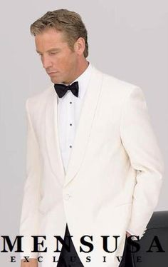 SKU# 8467C 1 Button Shawl Lapel Dinner Jackets - Ivory (Winter White)100% Tropical Wool $185 Tuxedos / Formalwear Dinner Jackets