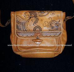 Pyrographed henna/mehndi leather bag www.facebook.com/behennaed