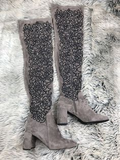 Jeffrey Campbell Cienega Over-the-Knee Suede Boot size 9 Gray Black Embroidered #jEFFREYCAMPBELL #thighhigh
