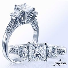 This three stone signature engagement ring is meticulously handcrafted in New York City using the finest diamonds and set in pure platinum #diamondring #engagementring