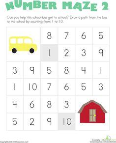 Worksheets: Number Maze: School Bus