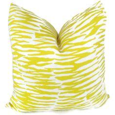Trina Turk Yellow Zebra Indoor Outdoor Pillow Cover by PopOColor, $75.00