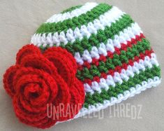 Christmas Newborn Hat Baby Christmas Hat with by UnravelledThredz