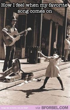 How I feel when my favorite song comes on, black white photograph man playing guitar, little girl throws arms up in air, throws head back she is feeling the music beat Funny at http daily pics .me --- February 2015 Hilarious, Funny Stuff, I Love Music, Music Is Life, Music Music, Kids Music, Soul Music, Aha Music, Street Photography
