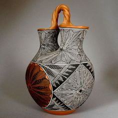 Monroe Victorino : Monroe  has been an active potter since 1976 working with fineline polychrome bowls and jars. Monroe is well-known for his superb fineline work, wonderful star bursts a exemplified in the wedding vase