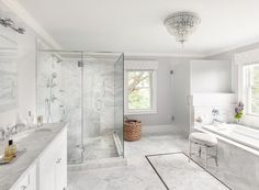 Marble clad bathroom is lit by a crystal flush mount hung above marble herringbone tiles framed by bray marble border tiles and accenting marble diamond pattern floor tiles. Hippie Home Decor, Cute Home Decor, Indian Home Decor, Retro Home Decor, Easy Home Decor, Home Decor Bedroom, Cheap Home Decor, Room Decor, Luxury Homes Interior