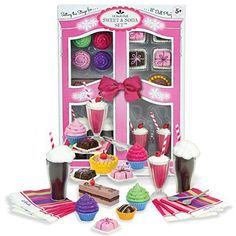 Complete 27 Piece Set Includes 15 Sweet Treats Plus 4 Spoons and 8 Paper Napkins, 18 Inch Doll Pretend & Play Mini Doll Food Sets, Sweet & Soda Fountain Set With Root Beer Floats, Milkshakes, Cupcakes Plus More in Decorative Keepsake Box. By Sophia's Sophia's http://www.amazon.com/dp/B00M0ORTEO/ref=cm_sw_r_pi_dp_nDEBwb1MR31KT
