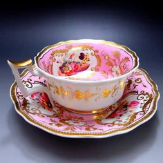 """<Tradition · Orthodox> UK hidden name kiln Yeats """"Pink and Hanabi"""" around 1820 - 30 Tea Cup Set, My Cup Of Tea, Tea Cup Saucer, Tea Sets, Vintage Dishes, Vintage Tea, Teapots And Cups, Teacups, Antique Tea Cups"""