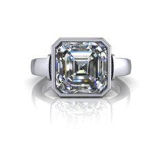 Solitaire Bezel Set Engagement Ring Asscher Cut Forever One Certified Moissanite 3 CTW