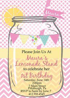custom pink lemonade invite pink and yellow birthday invitation lemons summer girls