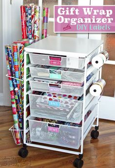 Gift wrap organization - Gift Wrap Organizer Cart with Colorful DIY Drawer Labels – Gift wrap organization Wrapping Ideas, Gift Wrapping, Diy Wrapping Cart, Wrapping Paper Station, Craft Room Storage, Craft Organization, Diy Organizer, Gift Wrap Organizer, Wrapping Paper Organization
