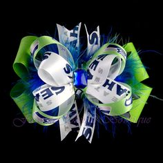 Seattle Seahawks Bow with Marabou by FavoriteThingsBows on Etsy, $8.99