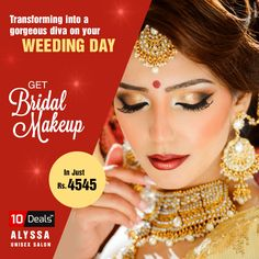 Take your #bridal #makeup to the next level and bring out the #Princess in you with #AlyssaBeauty #Salon.  Get Bridal Makeup in Just Rs.4545 Only.