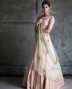 Peach And Mint Green Lehenga Blouse Indian Bridesmaid Outfit - Peach And Mint Green Lehenga Blouse Indian Bridesmaid Outfit Indian Designer Lengha Skirt Blush Peach Wedding Dress Summer Bridal Wear The Color Isnt Exactly Like The Original Pink Mint Gre Indian Bridal Fashion, Indian Wedding Outfits, Indian Outfits, Indian Engagement Outfit, Indian Reception Outfit, Indian Fashion Trends, Indian Clothes, Bridal Outfits, Eid Outfits