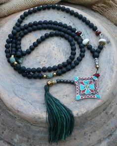 Frosted Onyx Mala Necklace - Made by look4treasures