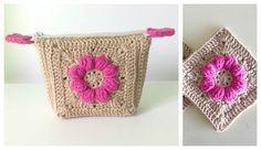 HandworkDIY: Monedero crochet o porta cosméticos con granny square