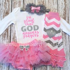 Baby Shower Gift Girl Outfit  I\'m proof that God answers Prayers by ThreeSweetLimes Answered Prayer Pink and Grey