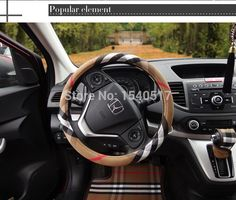 Hot sale car steering wheel covers personalized fabric cloth plaid ...
