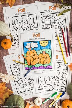 Free Printable Fall Color by Number Daycare Crafts, Fall Crafts For Kids, Crafts For Girls, Toddler Crafts, Art For Kids, Kids Crafts, Fall Coloring Pages, Printable Coloring Pages, Coloring For Kids