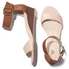 """Cushion Walk® Downtown Wedge Sandal. The perfect weekend shoe! This leatherlike sandal has Cushion Walk® arch and heel support and an adjustable ankle strap with elastic stretch. 1 1/2"""" wedge.  Half sizes, order one size up. Available in sizes 6M-11M. Reg. $29.99."""