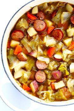 This Cabbage Sausage and Potato Soup recipe is hearty and comforting easy to make and so savory and delicious My kind of cabbage soup GlutenFree DairyFree Cabbage Sausage Potato, Cabbage And Potato Soup, Potato Food, Cabbage Stew, Cabbage Soup Recipes, Hearty Soup Recipes, Potato Recipes, Cooking Recipes, Healthy Recipes