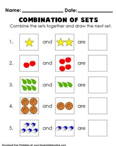 Combination of Sets Addition Math Worksheets for Kids Printable Math Worksheets, Worksheets For Kids, Free Printables, Hollywood Bulletin Boards, Sets Math, Lessons For Kids, Invitations, Madness, Kids Worksheets