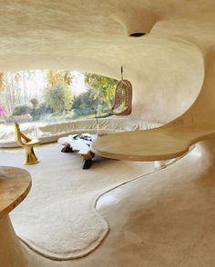 Maison Earthship, Earthship Home, Organic Architecture, Interior Architecture, Architecture Organique, Bubble House, Shell House, Retro Interior Design, Villa