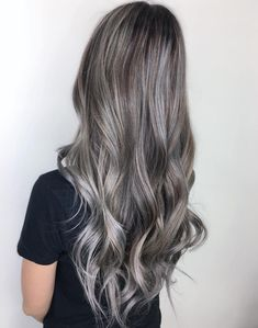 60 Shades of Grey: Silver and White Highlights for Eternal Youth Long Silver Balayage Brown Hair Balayage Hair Grey, Grey Ombre Hair, Balayage Brunette, Ombre Brown, Blue Ombre, Grey Brown Hair, Dark Brown, Ash Grey, Brown And Silver Hair