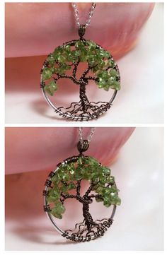Old Wise Oak Tree Of Life Necklace Green Peridot Pendant with Brown Artistic Wire Trunk on Silver Chain Wire Wrapped August Birthstone