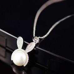 Cute Faux Pearl Rhinestone Bunny Pendant Necklace For Women #women, #men, #hats, #watches, #belts