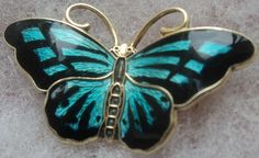 Norwegian Sterling Silver Enamel Butterfly Brooch - Hroar Prydz Norway