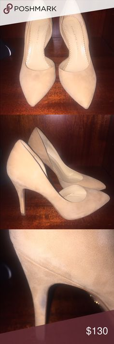 Charlotte Olympia Charlotte Olympia nude heels . These are 4 inches . Just two dirt marks on the side but can be cleaned . I love these shoes but sadly they are too small for me . Charlotte Olympia Shoes Heels