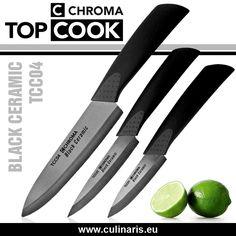CHROMA TOP COOK - Keramik Messerset TCC 3-teilig - Die neuen Keramikmesser mit Keramikklingen von CHROMA TOP COOK liegen gut in der Hand, sind absolut antiallergisch und korrosionsfest sowie sehr scharf und schnitthaltig.
