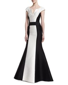 Cap-Sleeve+Tuxedo+Colorblock+Gown,+Black/White+by+Carolina+Herrera+at+Neiman+Marcus.
