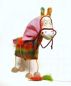 Kůň , Textilní loutka , Látková loutka marioneta , Textilní hračka