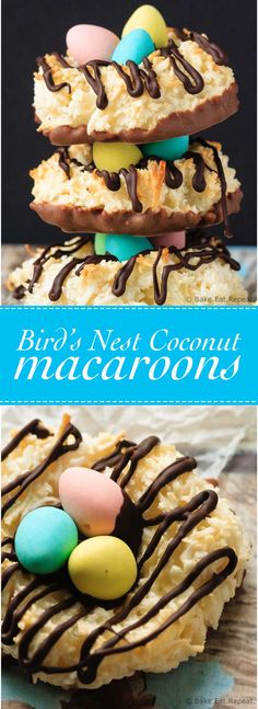 Birds Nest Coconut Macaroons - Easy coconut macaroons that can be shaped into cute little bird's nests cookies for a fun Easter treat!(Easter Baking For Kids) Spring Recipes, Easter Recipes, Holiday Recipes, Dessert Recipes, Cookie Recipes, Easter Cupcakes, Easter Cookies, Easter Treats, Christmas Cookies