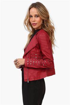 Tender Leather Jacket in Burgundy