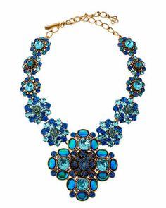 Y1WV8 Oscar de la Renta Swarovski Crystal Necklace, Blue