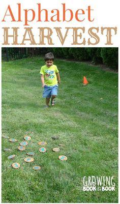 A fun gross motor alphabet activity with a harvest theme twist from growingbookbybook.com #playfulpreschool