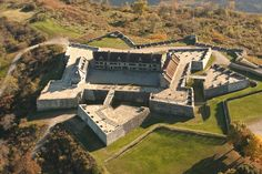 """Fort Ticonderoga in an 18th century French built """"star"""" fort in-between Lakes Champlain and George in New York State."""