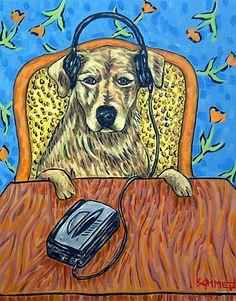 GOLDEN RETRIEVER listening to music on headphones dog art print 8x10 picture