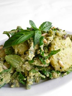 Green Bean, Potato and Rocket Salad with Capers and Basil-Zucchini-Pinenut Pesto -- lots of ingredients in the name but it looks and sounds delicious. #vegan