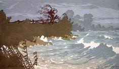 ✨ Oscar Droege (1898-1983) - Bewegtes Meer, Farb-Holzschnitt ::: Choppy Sea, Colour Woodcut