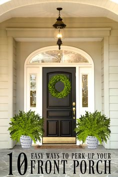10 Ways to Perk Up Your Porch Easy ways make your porch welcoming and warm Includes porch decor porch lighting plants and Front Door Porch, Front Porch Design, Front Door Decor, Porch Designs, Fromt Porch Decor, Fromt Porch Ideas, Front Porch Lights, Planters For Front Porch, Above Door Decor