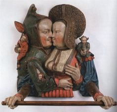 one of my all-time favourite towel-rails! fool embraces woman, painted wooden towel-rail, attributed to Arnt van Tricht, Klalkar, 1530s. Kleve, Museum Kurhaus. Why isn't IKEA knocking out replicas of this by the thousand?