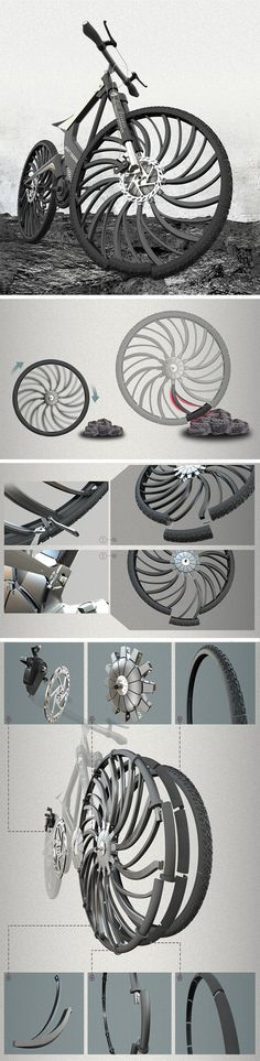 This bicycle tire design features a wheel that's split into multiple identical pieces with the spokes being designed specifically for shock absorption. Upon encountering an obstacle, the spokes just simply bend inward, allowing the tire to deform in the shape of the obstacle, and the bike to ride right across like cutting through air. The same would work for potholes. If and when a wheel gets damaged, just simply replace the damaged components rather than the entire wheel itself!